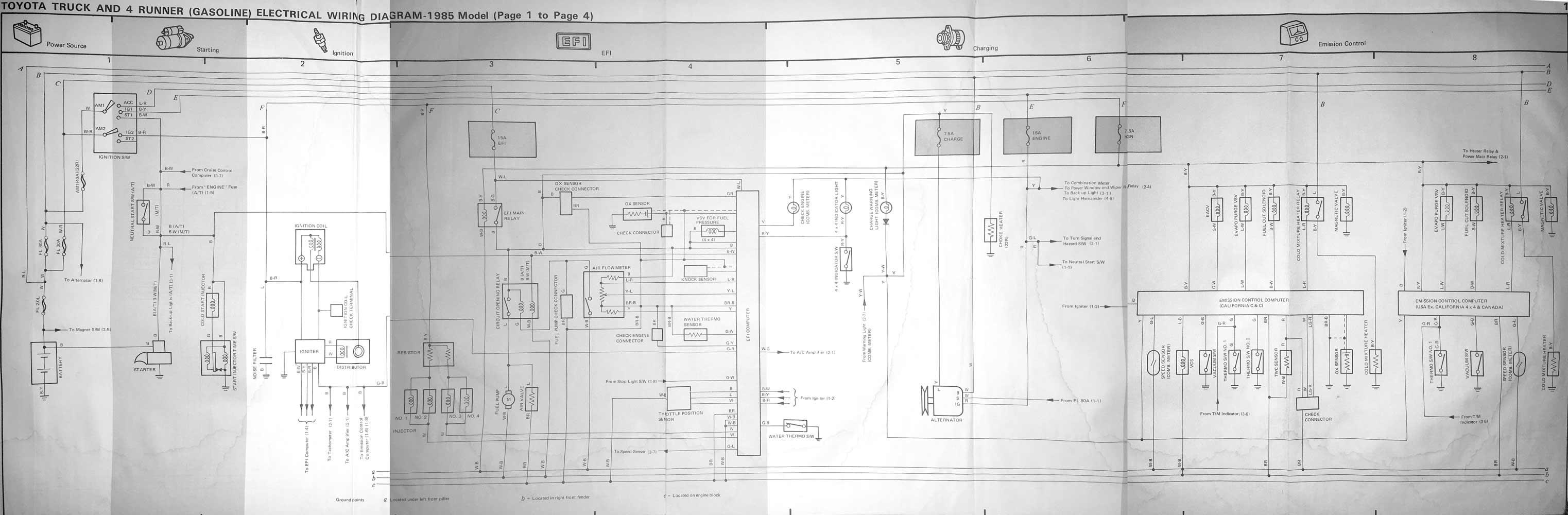 1985 Toyota Pickup Truck Hilux  U0026 4runner Wiring Diagram